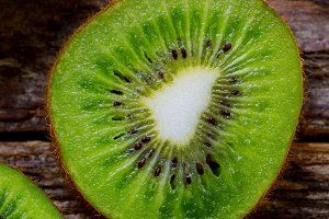 Halves of juicy kiwi macro delicious