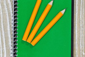 Sharpen pencils on top of notepad