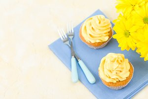 Cupcake with yellow cream decoration