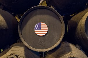 American flag on wooden wine barrels for sherry aging