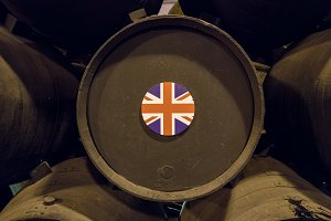 British flag on wooden wine barrels for sherry aging