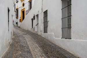 Narrow street in Arcos de la Frontera near Cadiz Spain