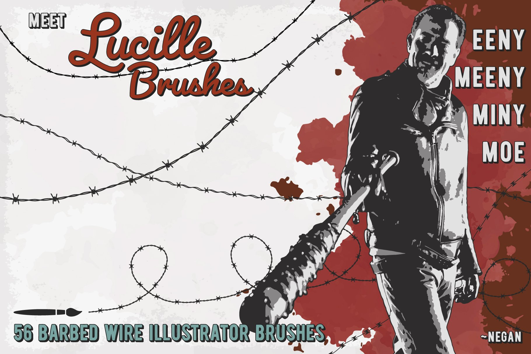 Lucille - Barbed Wire AI Brushes ~ Brushes ~ Creative Market