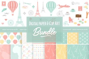 Paris Travel Clip Art Paper Bundle
