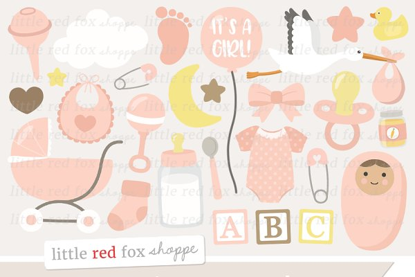 New Baby Girl Clipart Pre Designed Photoshop Graphics Creative Market