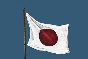 Illustration of Japanese Flag
