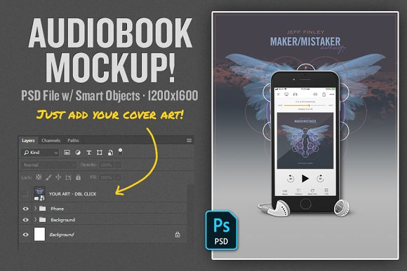Download Audiobook Mockup PSD Template