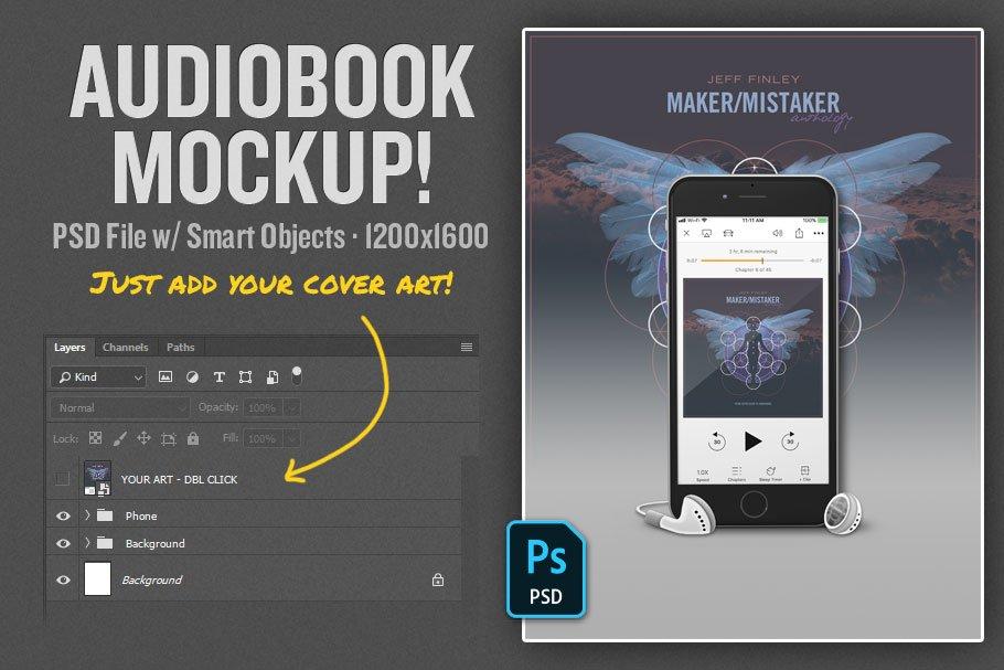 Audiobook Mockup PSD Template