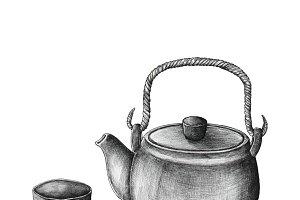 Hand drawn green tea set