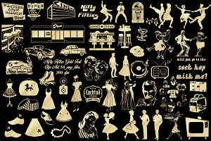 Gold Foil Nifty Fifties Clip Art