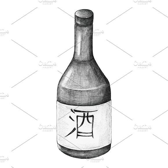 Hand Drawn Osake Japanese Rice Wine