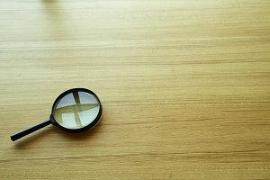 magnifying glass over the table