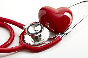 Red stethoscope with red heart and doctor