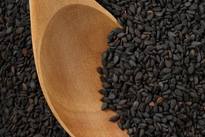 Black sesame seed food agriculture background.