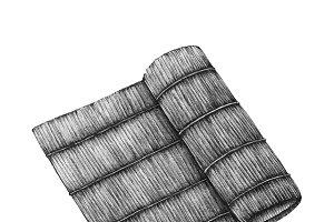 Hand drawn sushi bamboo roller mat