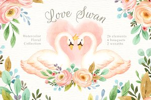 Love Swan Watercolor Clip Art