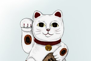 Illustration of Japanese lucky cat