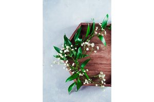 Hexagonal wooden tray with green leaves and tiny white flowers. Spring flat lay on a concrete background with copy space.