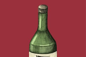 Japanese alcohol bottle illustration