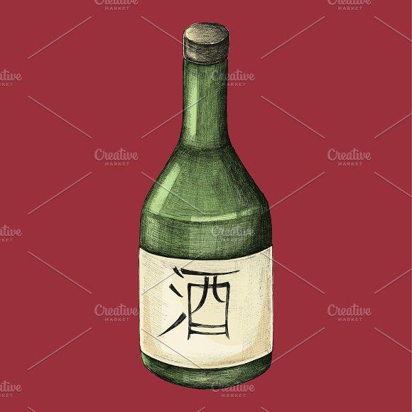 Japanese Alcohol Bottle Illustration