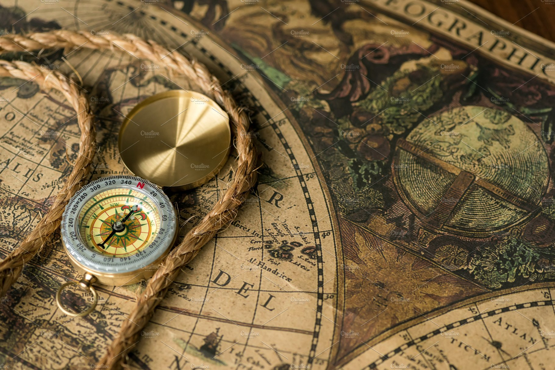 Vintage map and object retro stale stock photo containing compass and |  High-Quality Education Stock Photos ~ Creative Market