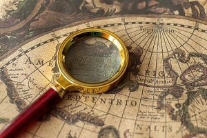 Vintage map and object. Retro stale