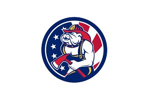 Bulldog Fireman American Flag Icon