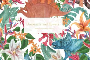 Dinosaurs and flowers