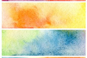 Set of watercolor painting