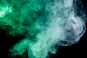 Abstract blue-green smoke hookah