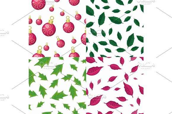 Seamless Patterns With Leaves And Christmas Toys