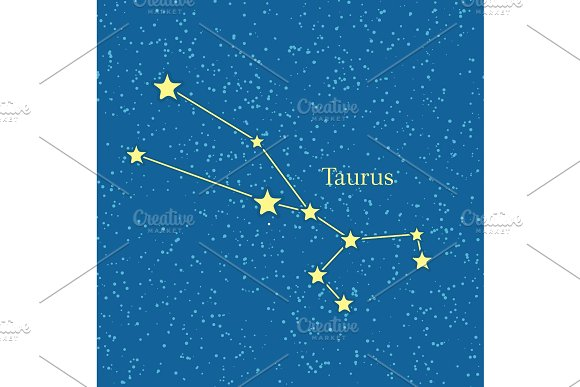 Night Sky With Taurus Constellation Illustration