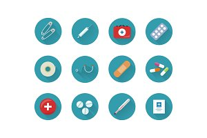 Medicine Icons Set Collection on Web Buttons.