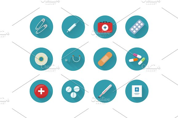 Medicine Icons Set Collection On Web Buttons