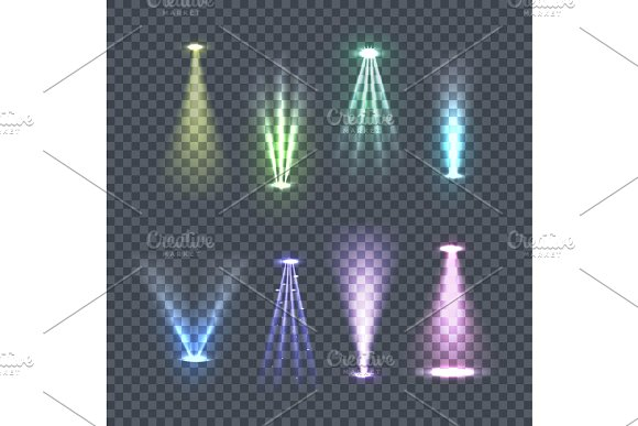 Set Of Spotlights Color Rays Vector Illustration