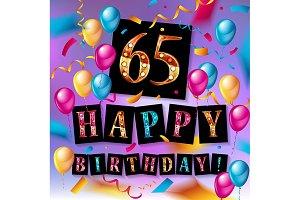 Number 65 gold celebration