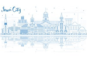 Outline Iowa City Skyline