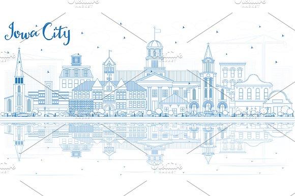 Outline Iowa City Skyline