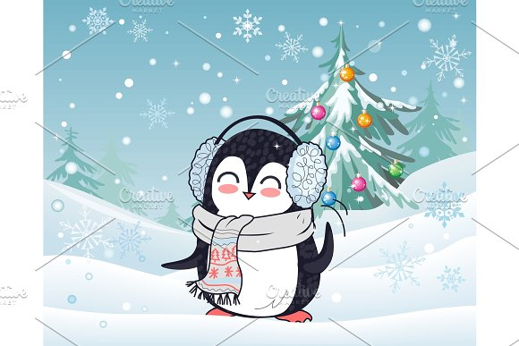 Penguin In Scarf And Headphones Winter Landscape