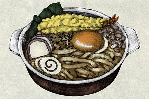 Hand drawn udon Japanese (PSD)
