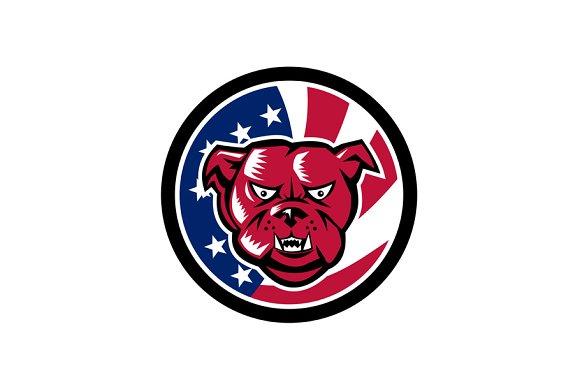 Bulldog Mascot American Flag Icon