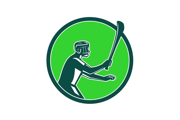 Hurling Player Icon Retro