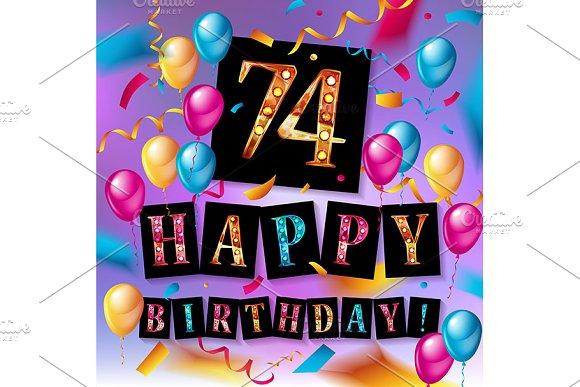74 Years Anniversary Happy Birthday