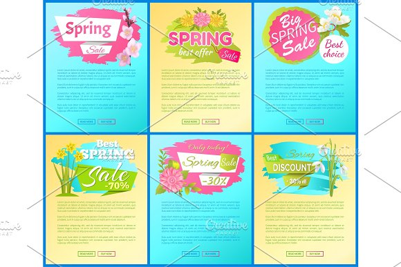 Best Offer Spring Big Sale Advertisement Pages Set