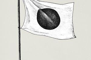 Hand drawn japanese flag (PSD)