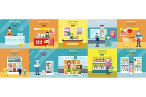 Set of Quality Service and Supermarket Web Banners.