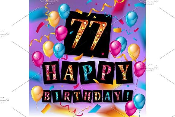 77 Years Anniversary Happy Birthday