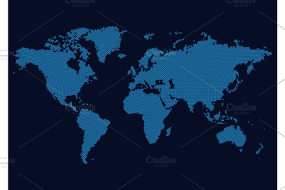 World Continents Map Dots Style Vector Illustration