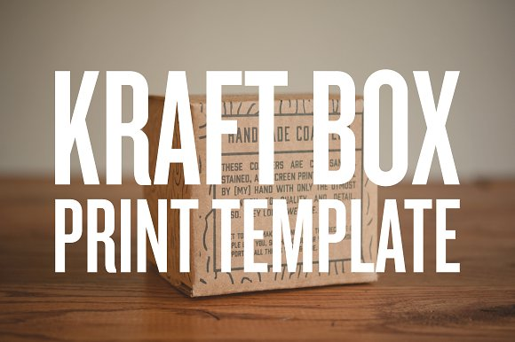 Print template 4quotx4quot kraft box templates creative market for 4x4 label template