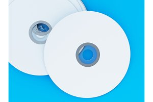 3D Illustration of Compact discs on color background